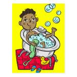 Boy Taking Bath Postcard