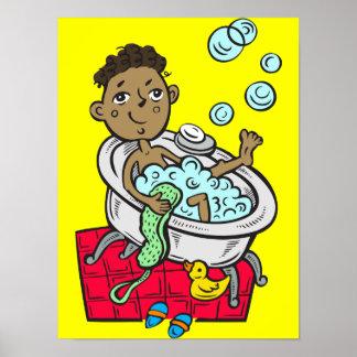 Boy Taking Bath Poster