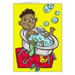 Boy Taking Bath Stationery Note Card