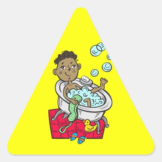 Boy Taking Bath Triangle Sticker