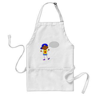 Boy talking adult apron