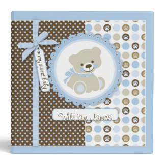 Boy Teddy Bear 2 in. Photo Album B 3 Ring Binder