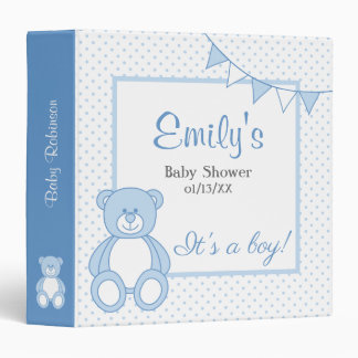 Boy Teddy Bear Baby Book Binder