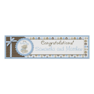 Boy Teddy Bear Baby Shower Banner Boy Poster