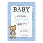Boy Teddy Bear Baby Shower Blue Dots Invitation