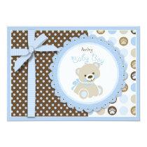 Boy Teddy Bear Baby Shower Invitation Card