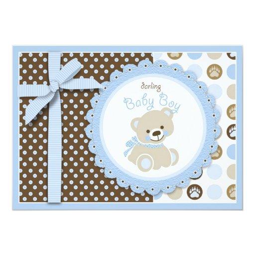 Boy Teddy Bear Baby Shower Invitation Card Personalized Invite