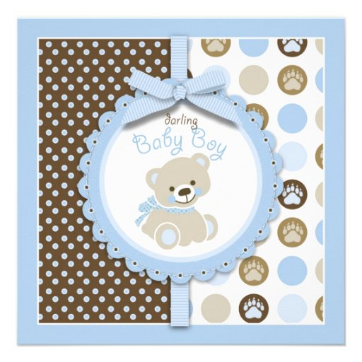 boy teddy bear baby shower invitation square square invitation