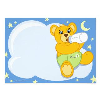 "Boy Teddy Bear Baby Shower Invitations 5"" X 7"" Invitation Card"