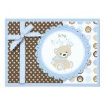 Boy Teddy Bear Blank Card Personalized Invitation