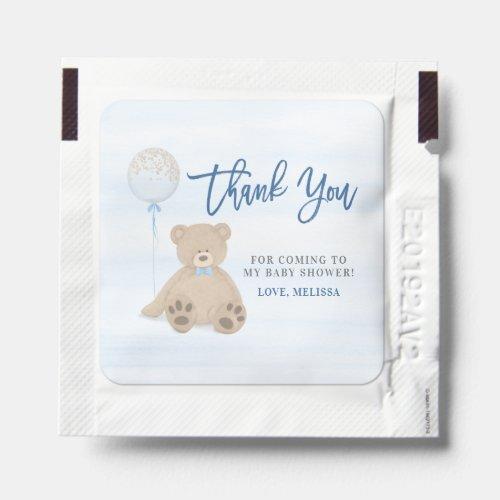 Boy Teddy Bear Blue Balloon Baby Shower Hand Sanitizer Packet