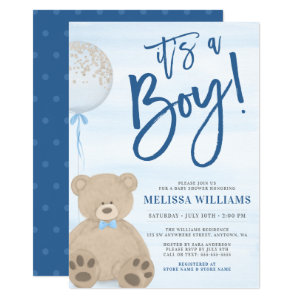 Teddy Bear Baloon Baby Shower Invitations