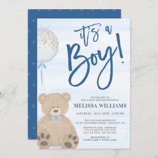 Teddy Bear Baloon Baby Shower Invitations