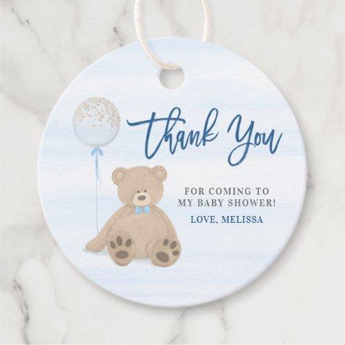 Boy Teddy Bear Blue Balloon Baby Shower Thank You Favor Tags