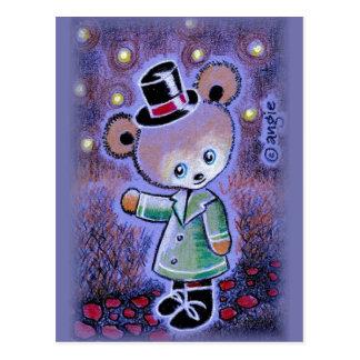 Boy Teddy Bear In Top Hat Postcard