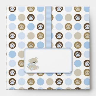 Boy Teddy Bear Square Envelope Envelopes