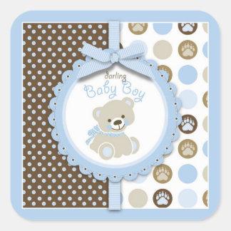 Boy Teddy Bear Square Sticker Sticker