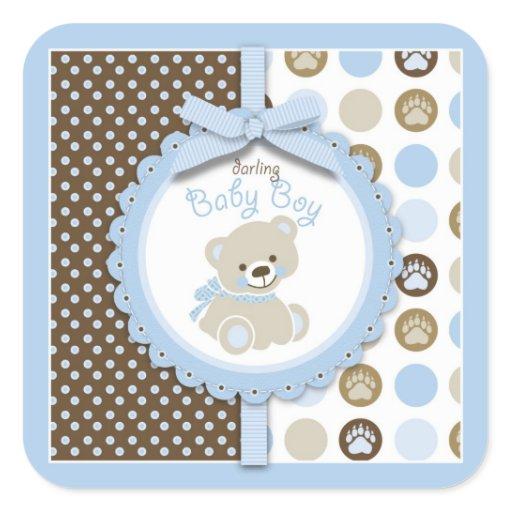 Boy Teddy Bear Square Sticker