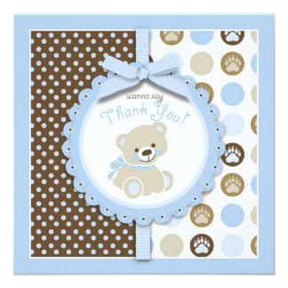 Boy Teddy Bear Thank You Square Card