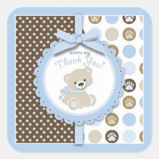 Boy Teddy Bear Thank You Square Sticker