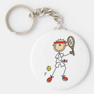 Boy Tennis Player Basic Round Button Keychain