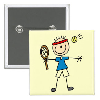 Boy Tennis Player tshirts and Gifts Button