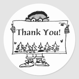 Boy Thank You Classic Round Sticker