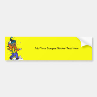 Boy Throwing Snowballs Bumper Sticker