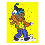 Boy Throwing Snowballs Custom Flyer