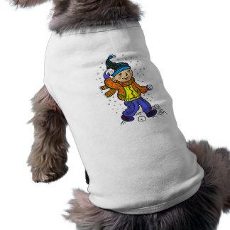 Boy Throwing Snowballs Dog Tshirt