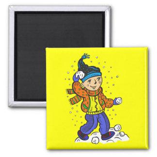 Boy Throwing Snowballs Magnet