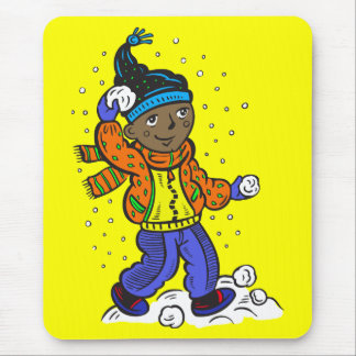Boy Throwing Snowballs Mouse Pad