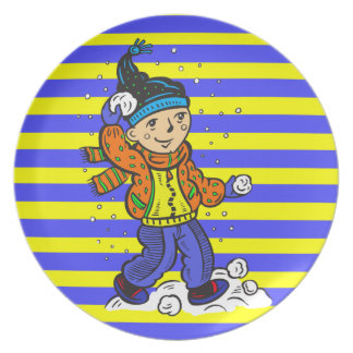 Boy Throwing Snowballs Plate