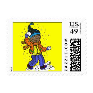 Boy Throwing Snowballs Postage Stamp