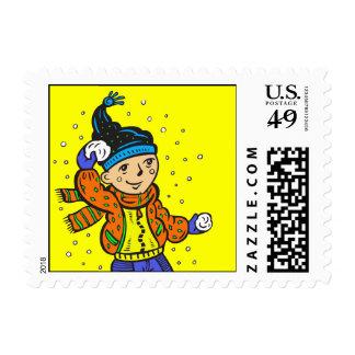 Boy Throwing Snowballs Stamps