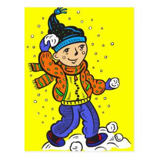 Boy Throwing Snowballs Postcard