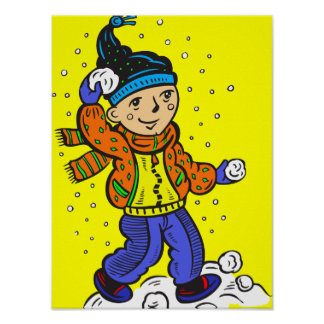 Boy Throwing Snowballs Posters