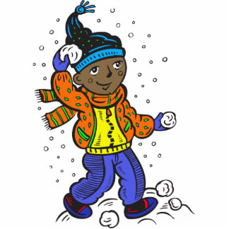 Boy Throwing Snowballs Statuette