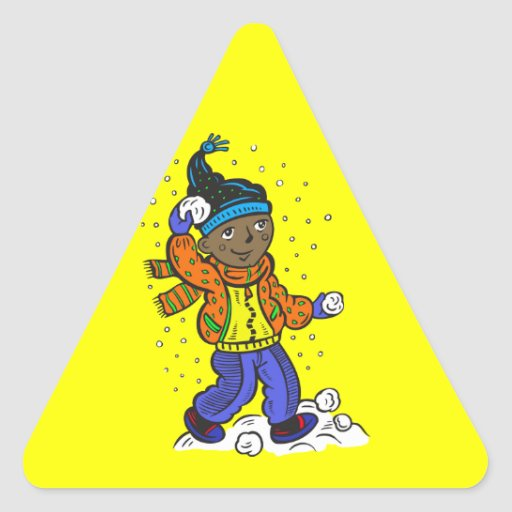 Boy Throwing Snowballs Sticker