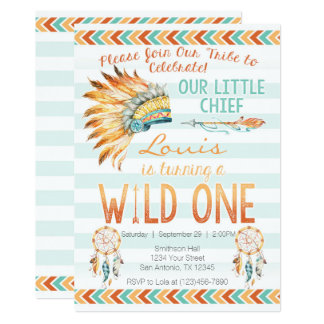 Boy Tirbal Aztec Boho Wild One Birthday Invitation
