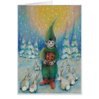 Boy tomte feeds  snow bunnies with his Xmas Apples Greeting Card