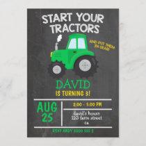 Boy Tractor Birthday Party Invitation