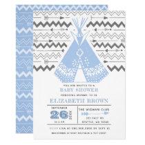 Boy Tribal TeePee Baby Shower Invitations