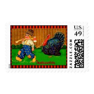 Boy & Turkey Postage