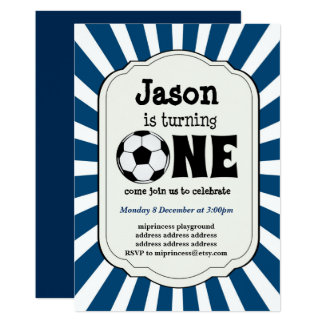 boy turning ONE  Soccer Ball  Invitation