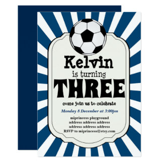 boy turning THREE Soccer Ball  Invitation