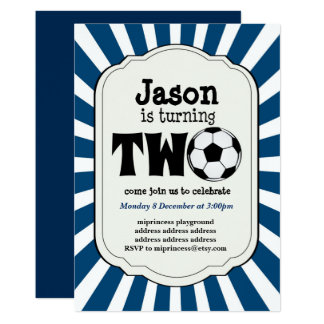 boy turning TWO  Soccer Ball  Invitation
