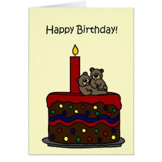 boy twin bears on cake card