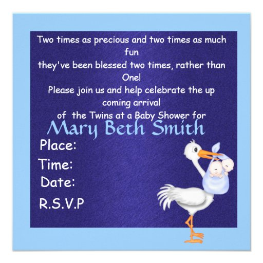 BOY TWINS BABY SHOWER  INVITATION (back side)