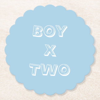 Boy Twins Baby Shower Powder Blue Paper Coaster